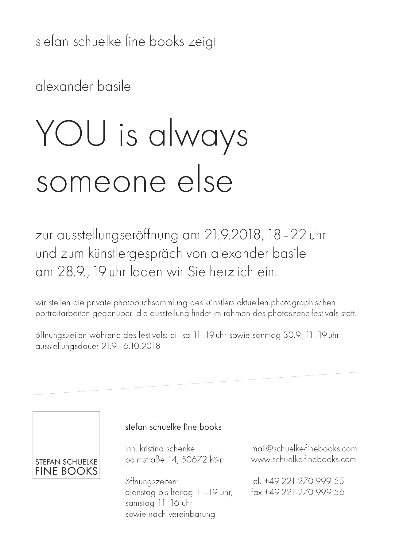 Alexander Basile - YOU is always someone else - exhibition - Stefan Schuelke Fine Books